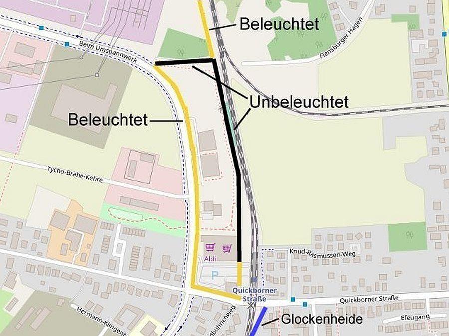 Plan beleuchteter und unbeleuchter Radwege Nähe AKN Quickborner Straße