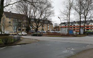 Hier findet das Stadtteilfest zum 50jährigen Stadtjubiläum statt: Platz vor dem alten Rathaus in Friedrichsgabe